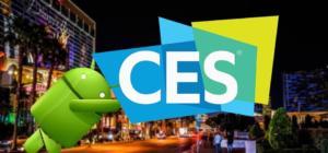 Affiche du CES Las Vegas 2018 avec un robot vert