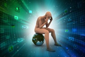 Concept de confusion : homme en 3g se tenant la tête assis sur un globe terrestre