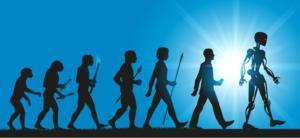 Concept de mutations : plusieurs silhouettes montrant l'évolution de l'home depuis la préhistoire