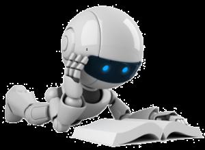Robot lisant un livre